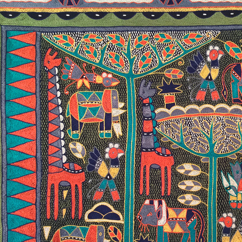 Bushveld Lush Animals under a Fever Tree Embroidered Cloth