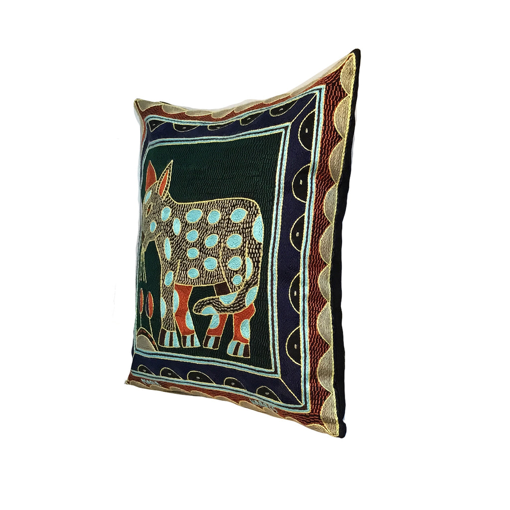 Mopani Moments Leopard Hand-Embroidered Cushion Cover