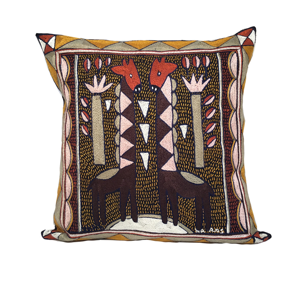 Namib Rust Giraffe Brothers Hand-Embroidered Cushion Cover