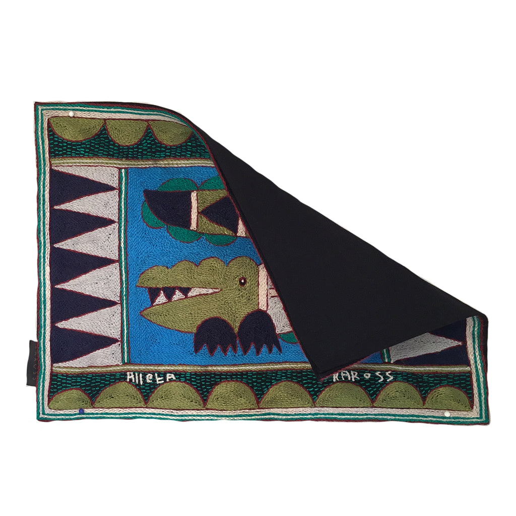 Turaco Crocodile Hand-Embroidered Padded Placemat
