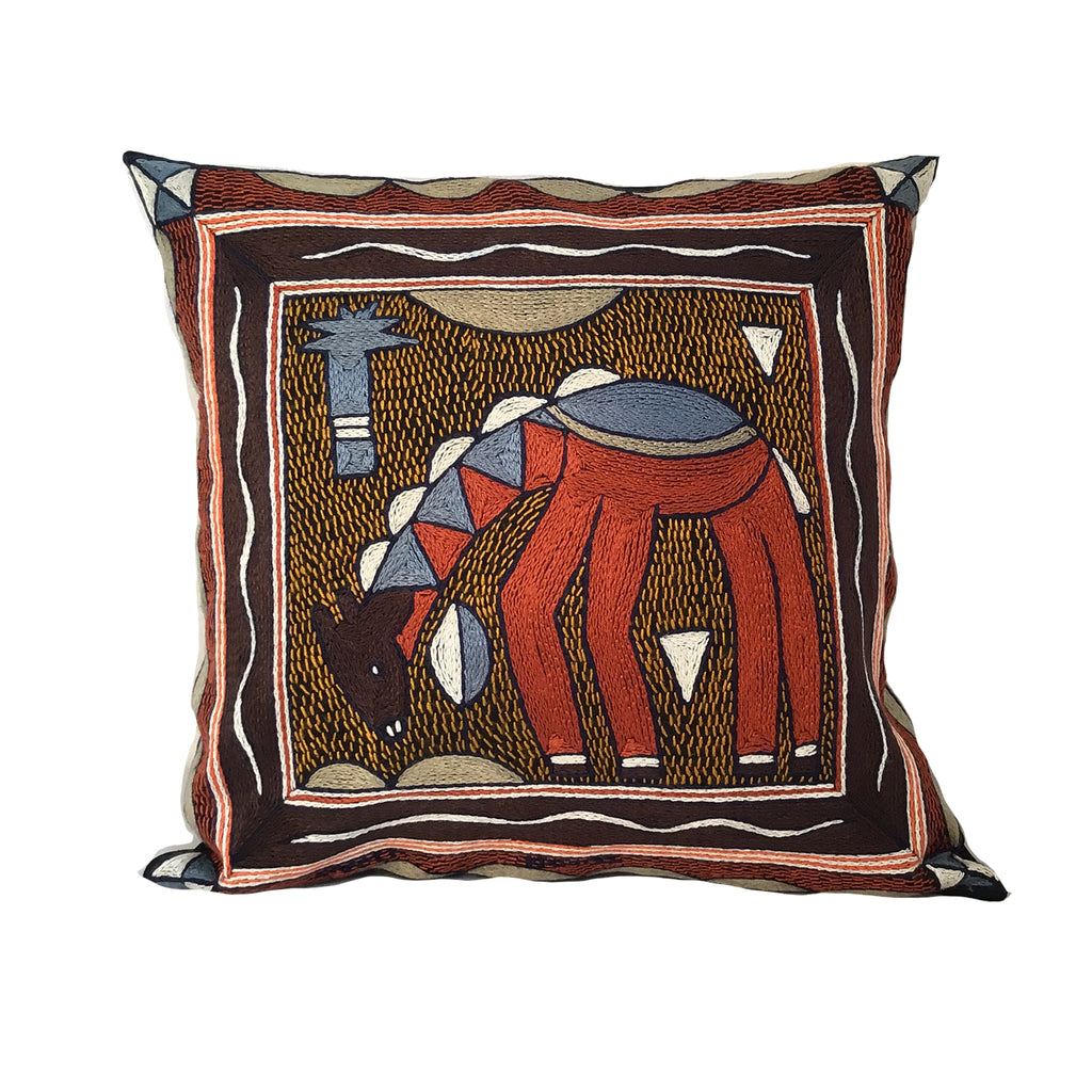 Namib Rust Giraffe Drinking Hand-Embroidered Cushion Cover