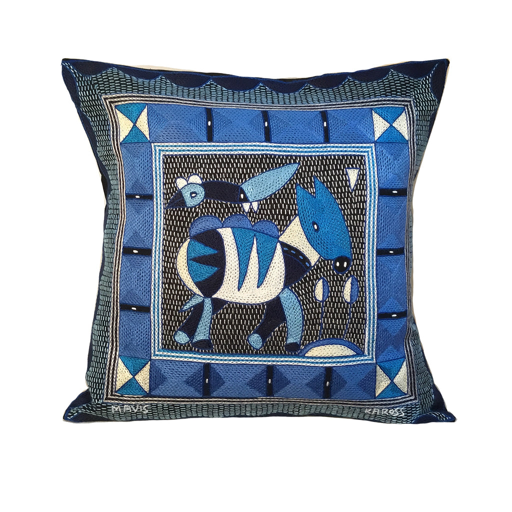 Delpht Antelope Hand-Embroidered Cushion Cover
