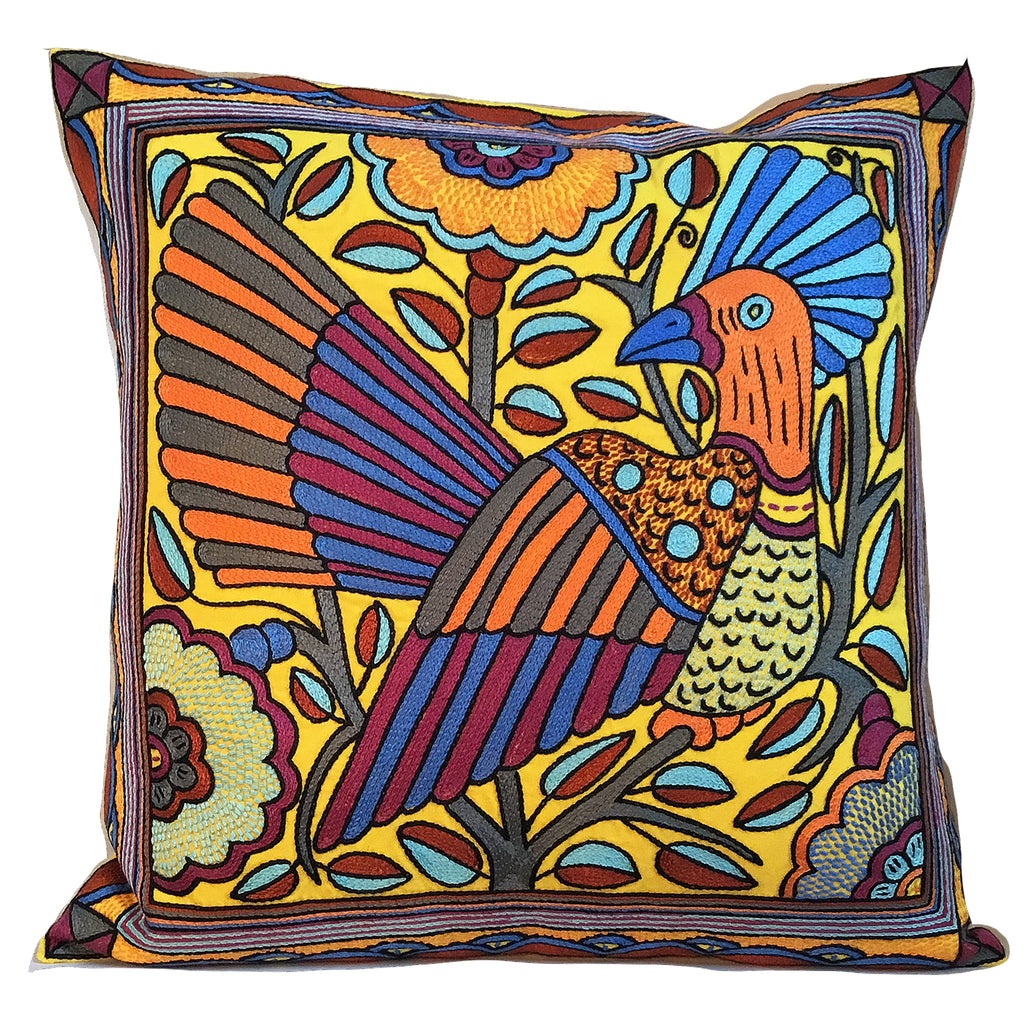 Bougainvillea Orange Bird in a Tree Hand-Embroidered Cushion Cover