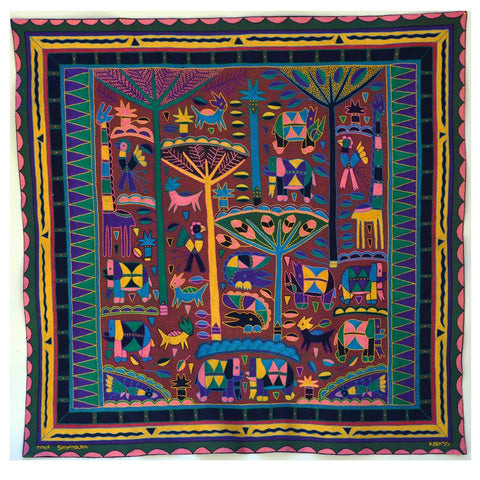 Shangaan Love Happiness in the Bushveld Embroidered Cloth