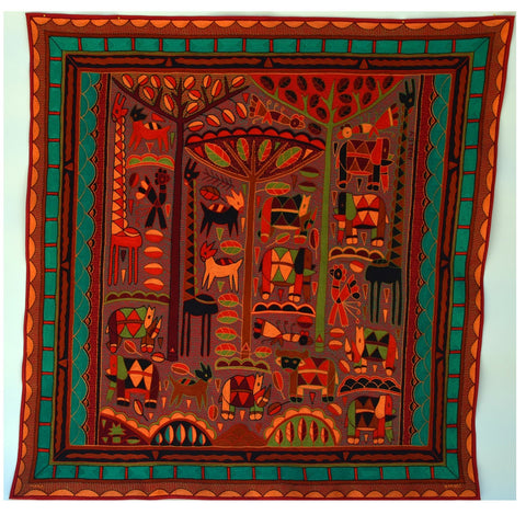 The Brightness of an African Sunset Embroidered Cloth