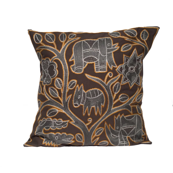 Ode to the African Savannah Antelope in Danger Monochrome Cushion Cover
