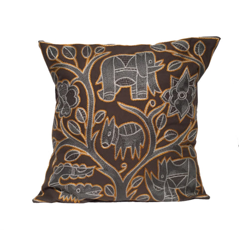 Ode to the African Savannah Grey Animals Monochrome Cushion Cover