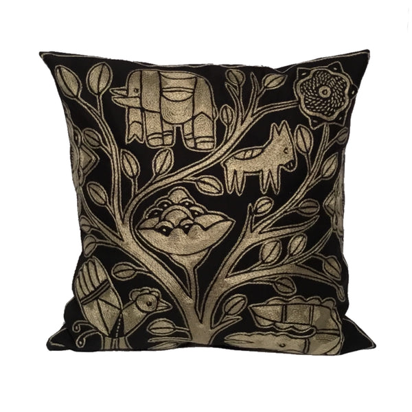 Ode to the African Savannah Tree on River's Edge Monochrome Cushion Cover