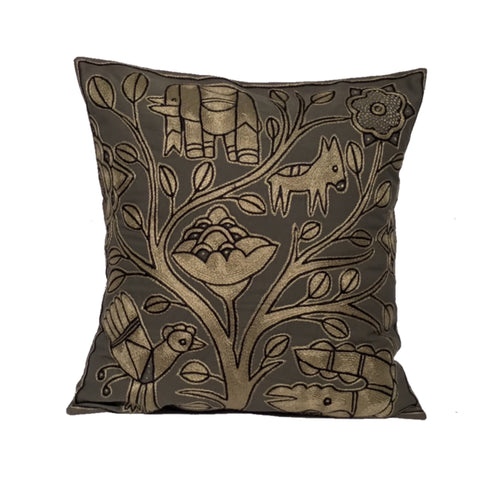 Ode to The African Savannah Trees on River's Edge Monochrome Cushion Cover