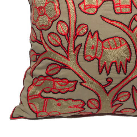 Royal Zulu Antelope in Danger Monochrome Cushion Cover