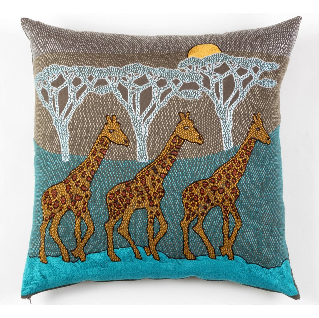 Tashas Giraffe Brothers in the Sunset Cushion Cover