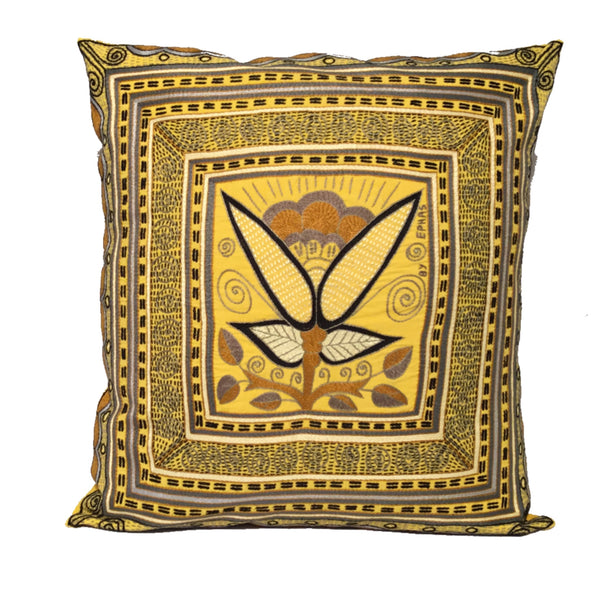 Ode to the African Savannah Yellow Flower Ephas Cushion Cover