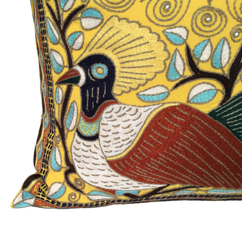 Bird and Flowers Cushion Cover