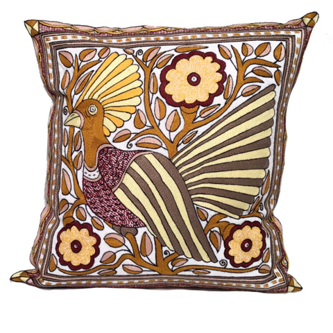 Ruby Sunset Bird in a Tree 4 Cushion Cover
