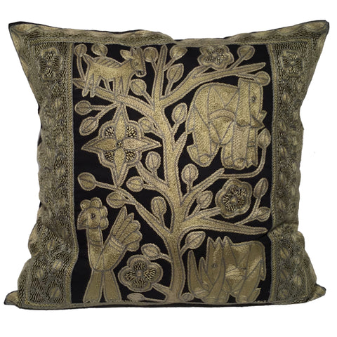 Ode to the African Savannah Bird Monochrome Cushion Cover