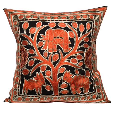Namib Rust Elephant in a Tree Monochrome Cushion Cover