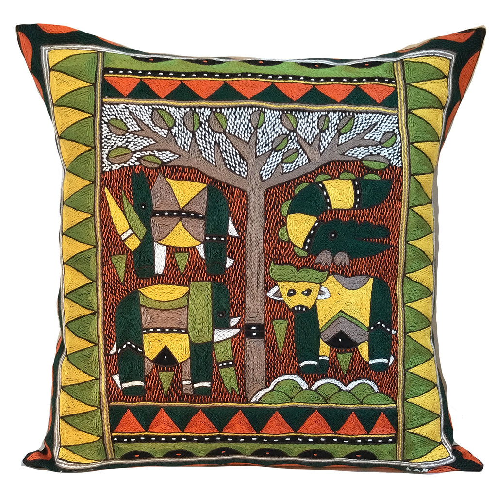 Bushveld Warmth Animals under a Thorntree Cushion Cover