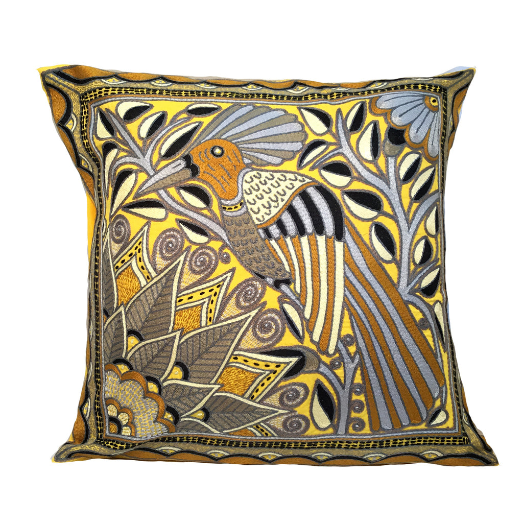 Ode to the African Savannah Bird in a Tree Ephas Hand-Embroidered Cushion Cover