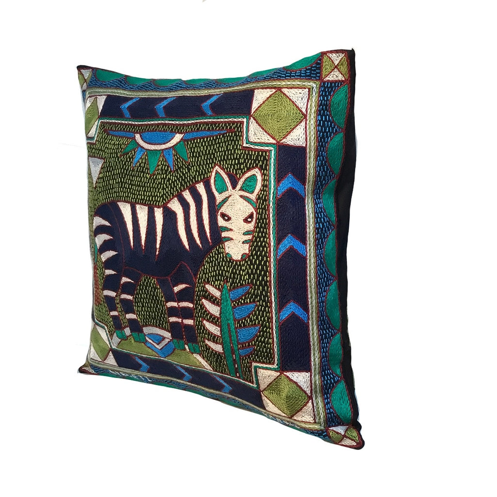 Turaco Zebra Hand-Embroidered Cushion Cover