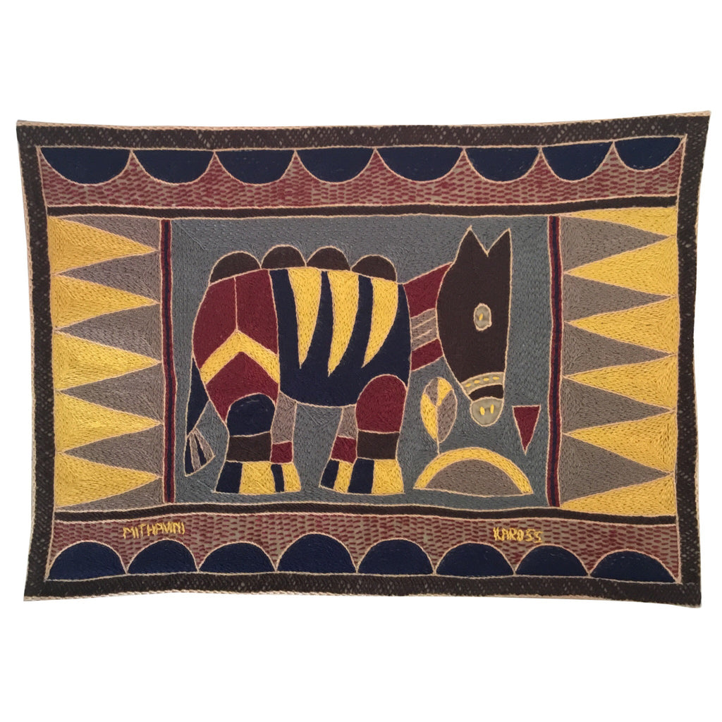 Hazelnut, Yellow and Grey Antelope Hand-Embroidered Padded Placemat