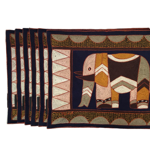Dusty Pink and Brown Elephant Padded Placemat