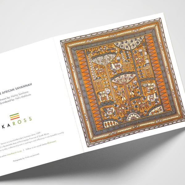 Kaross Printed Gift Cards; Kaross Signature Design in Ode to the African Savannah.