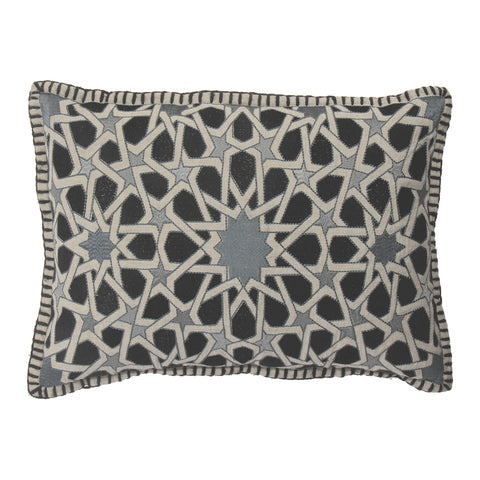 Geometric black and white cushion
