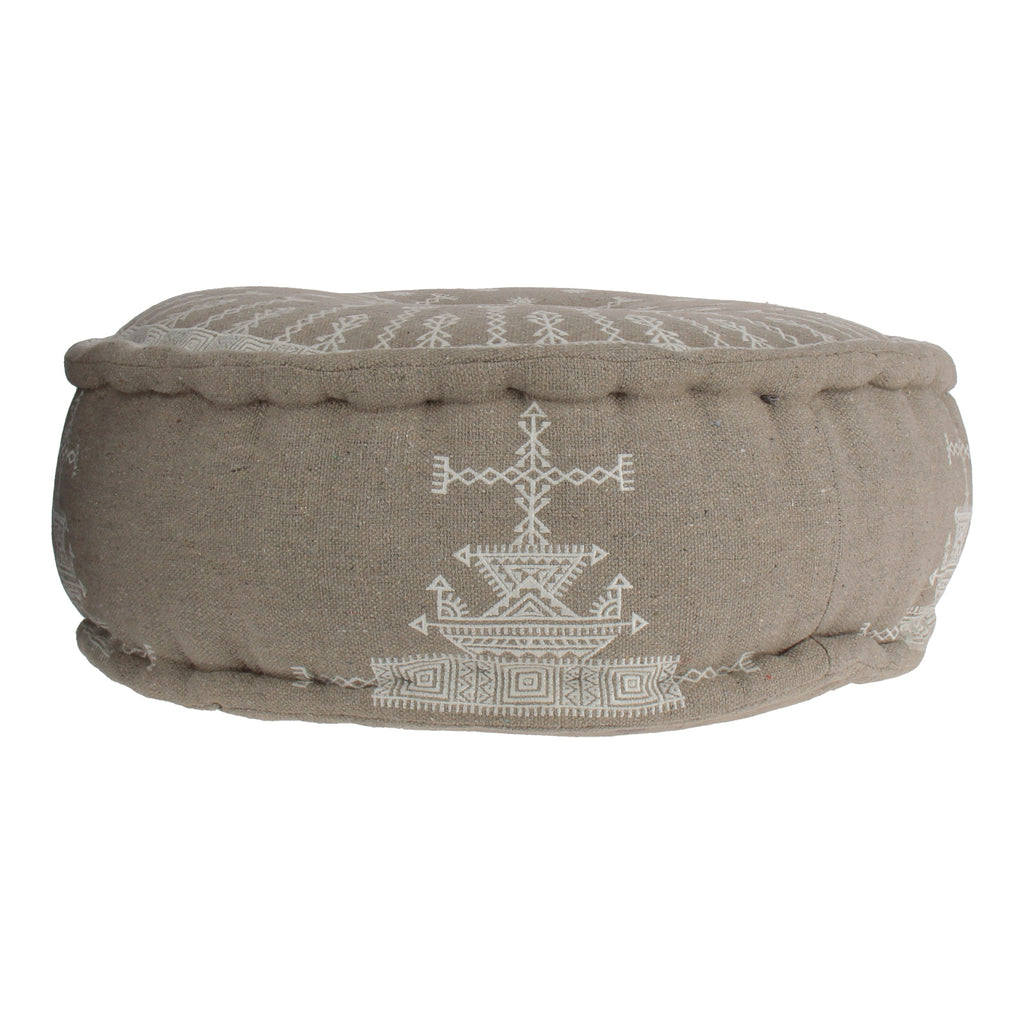 Linen coloured and patterned pouf