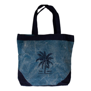 Blue canvas shopper