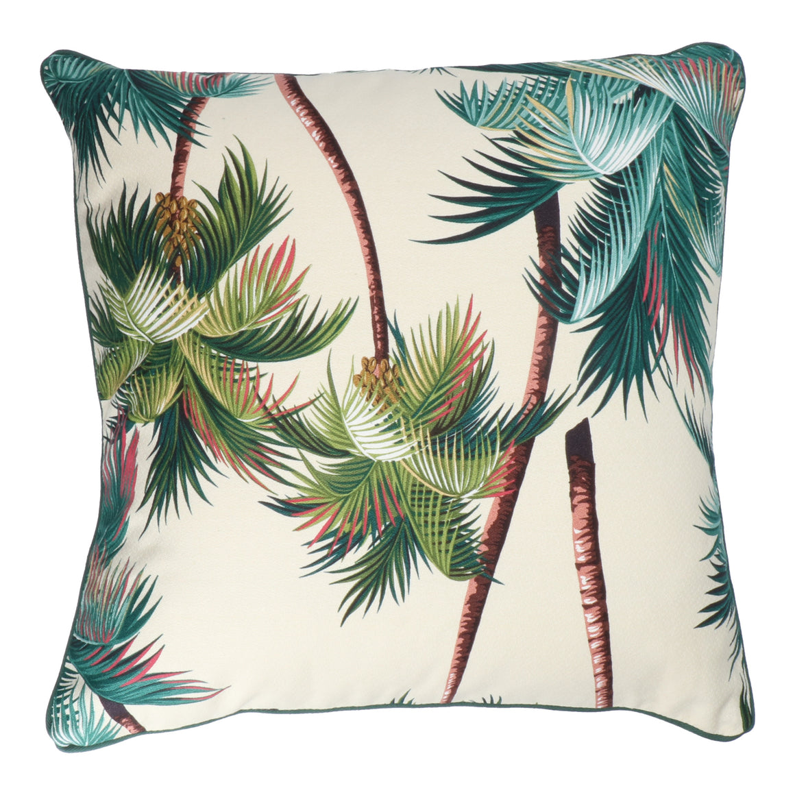 Hawaiian bark cloth tropical palm cushion - large.