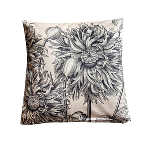 White poppy velvet cushion