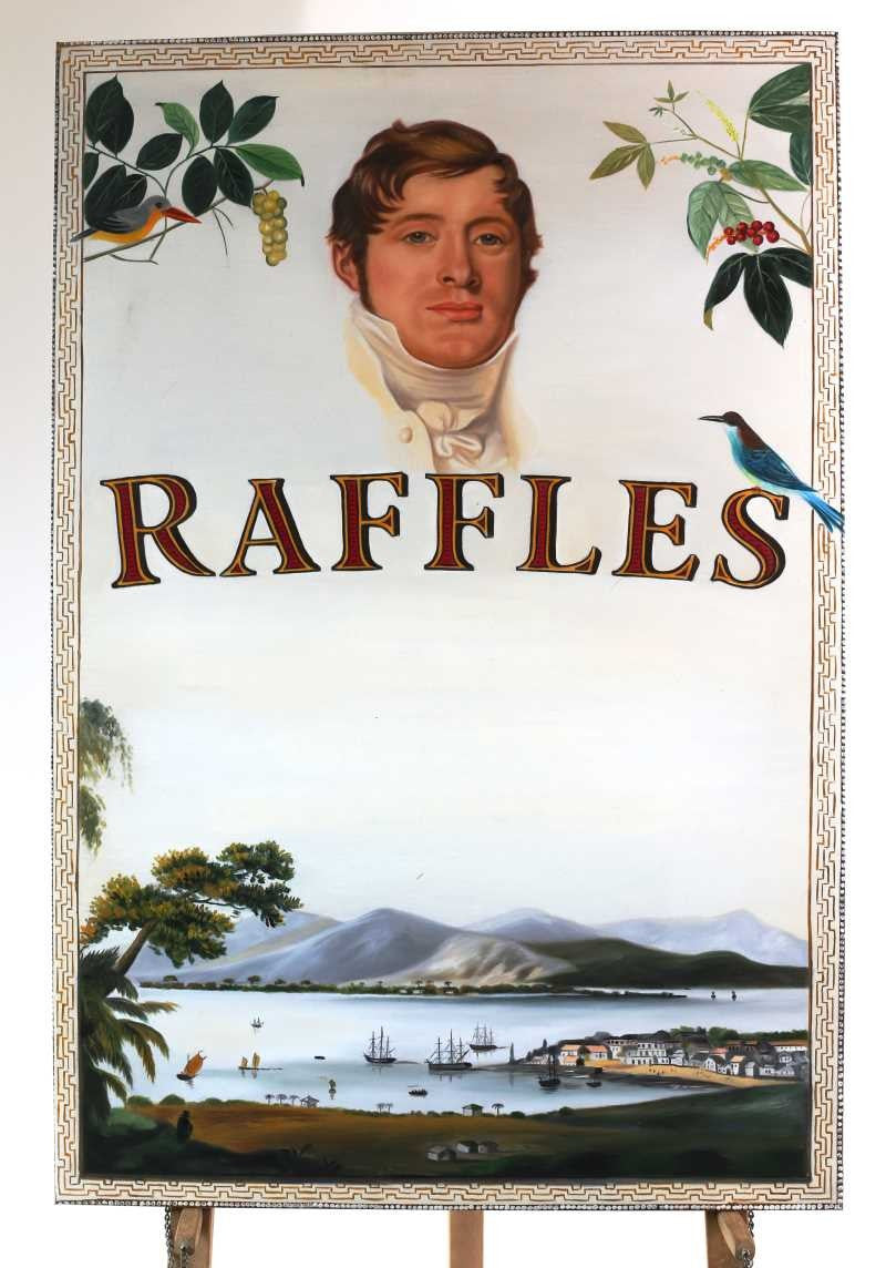 oil on canvas Sir Stamford Raffles 100cm tall x 76cm