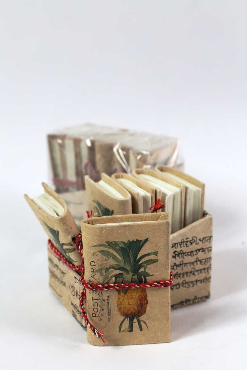"set of 6 pineapple design softcover mini notebooks in a display box 3"" x 2"""