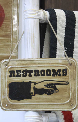vintage restrooms sign 30cm x 20cm