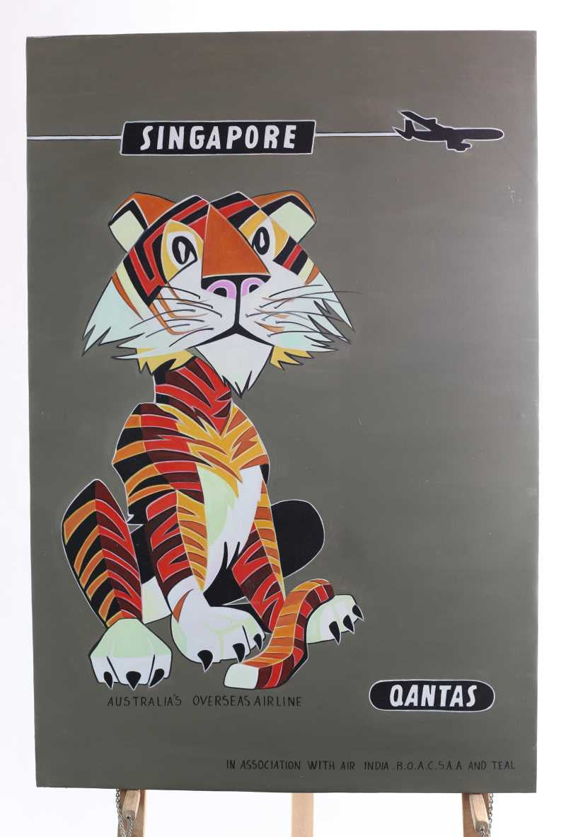 oil on canvas painting Qantas Tiger 80cm x 120cm tall