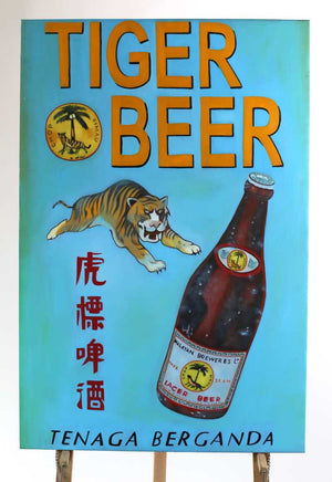 oil on canvas painting Tiger Beer 80cm x 120cm tall