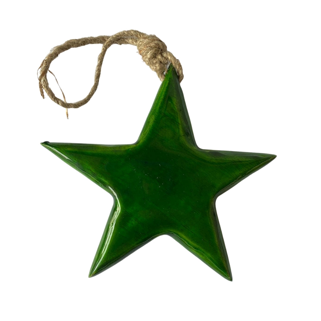 Green enamel painted Christmas star decoration