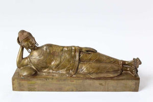 brass reclining Buddha from India over 80 years old 66cm long x 20cm x 30 cm tall