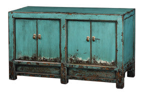 Blue chinese elmwood tv console