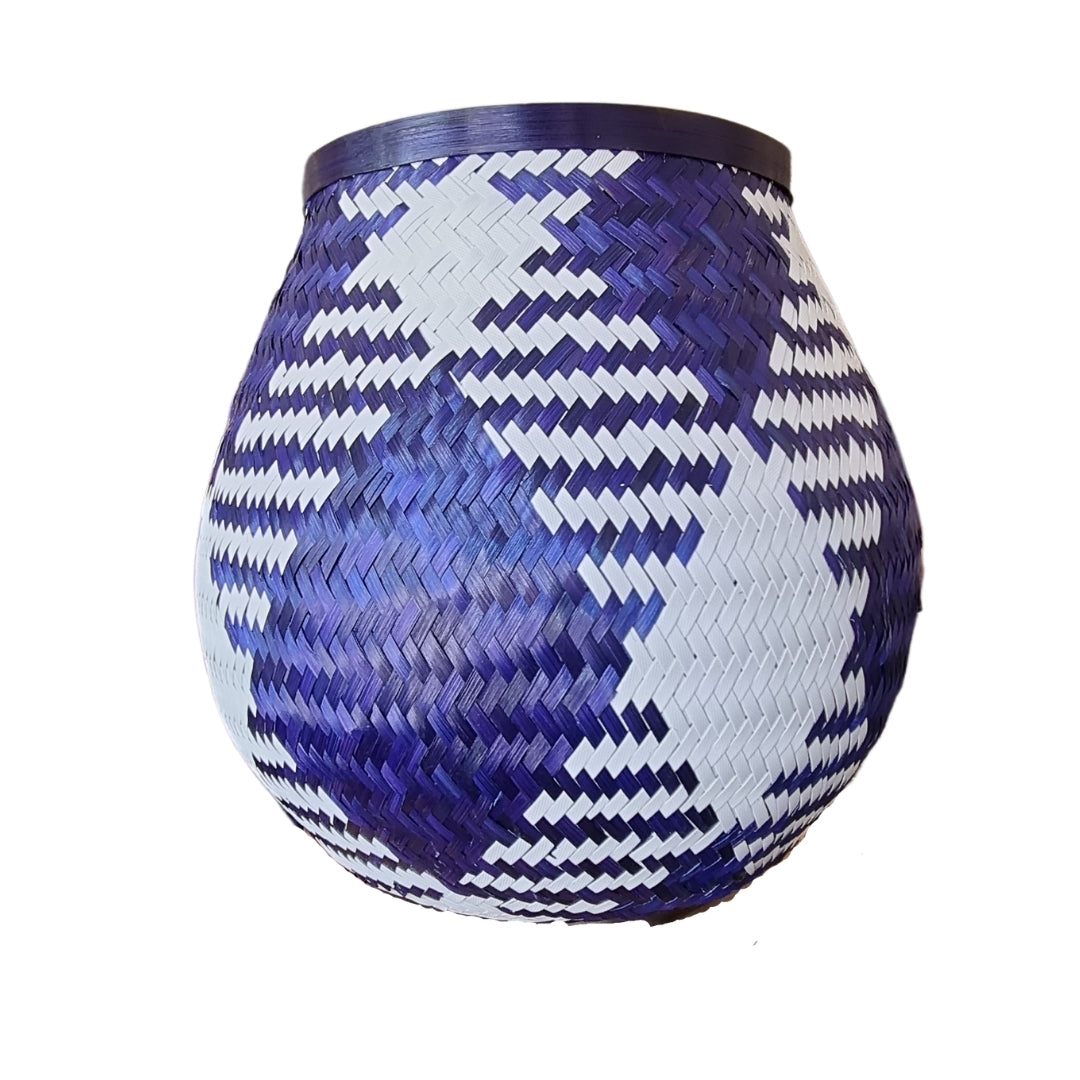 Blue and White Woven Basket