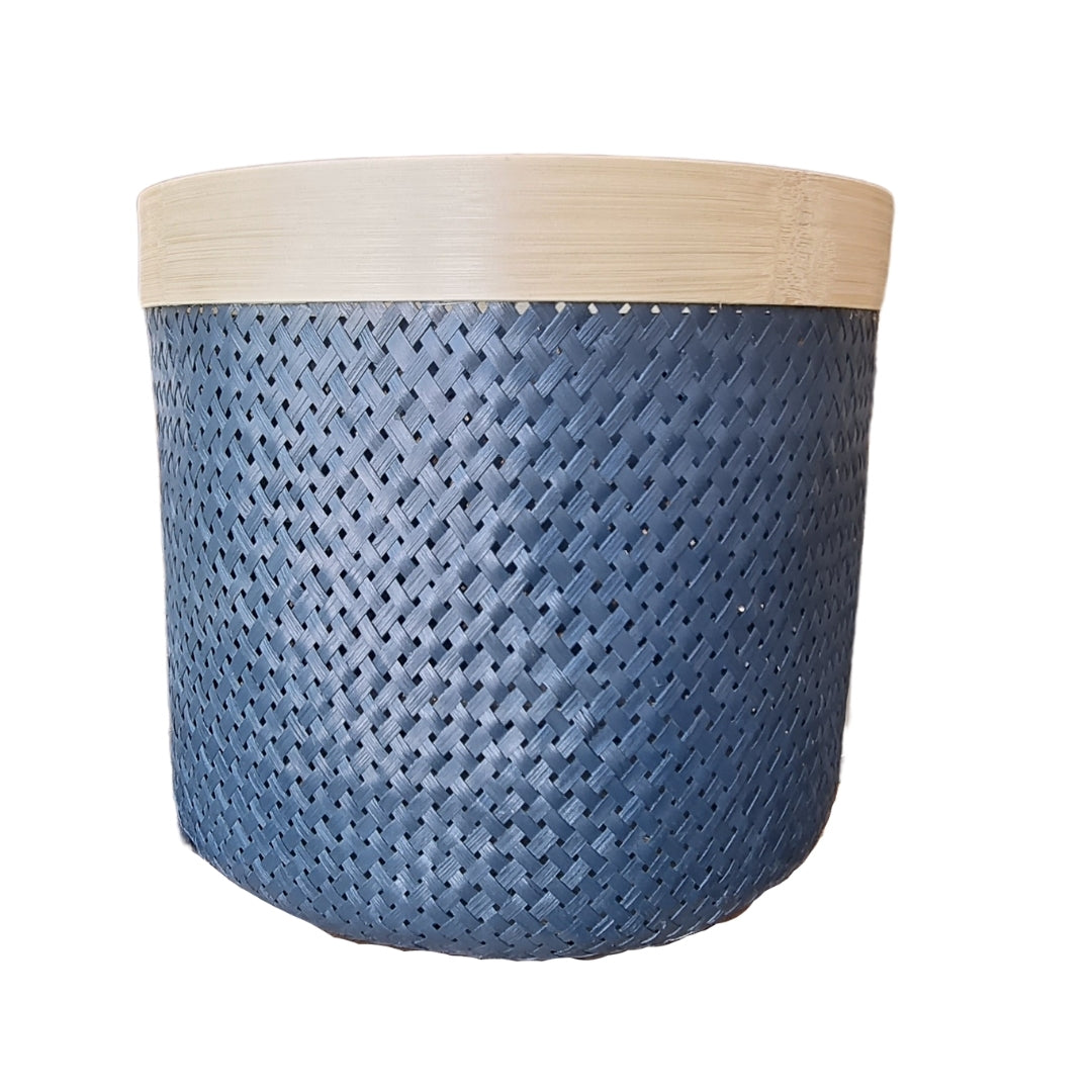 Blue Bamboo Basket - medium