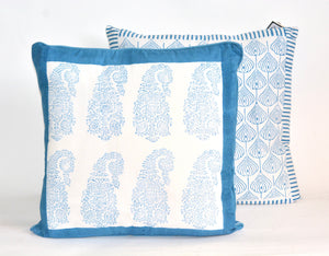Indian paisley cushion with blue border - small