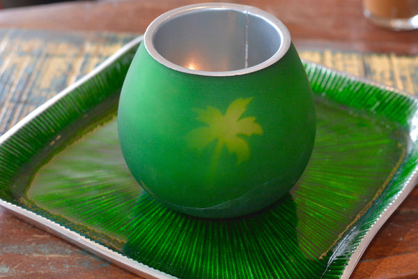 Palm tree flickering tea light