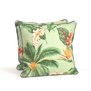 Tropical Green Floral Cushion - Medium