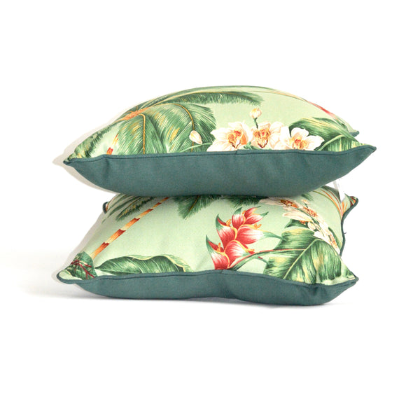 Green tropical palm cushion