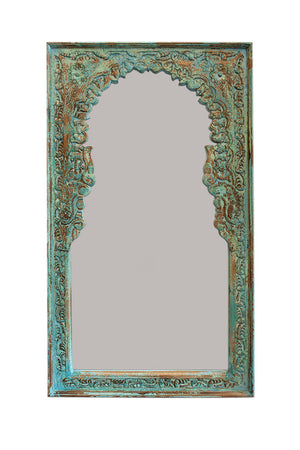 Green Indian carved mirror