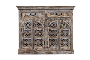 White Carved Cabinet with two doors
