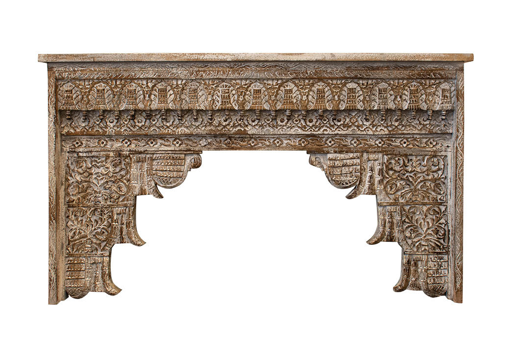 carved white console