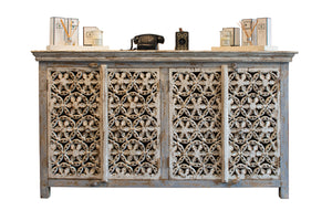 white carved side board