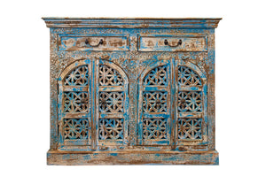 Blue Carved Cabinet with two doors